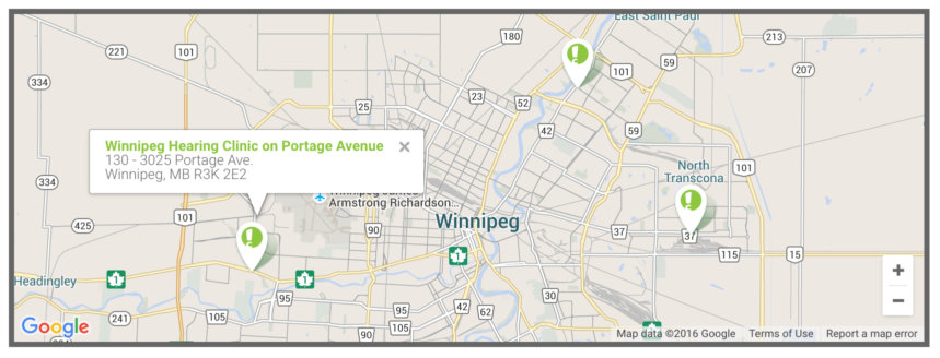 Winnipeg's clinics, showing custom markers and map styles